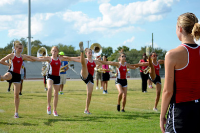 Co-captain+Jessica+Powell+observes+and+makes+corrections+as+the+Dancerettes+practice+kick+lines+during+band+practice.