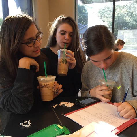 Gabriella Fernandez, Madison Schmidt and Juliana Althaus are entranced by homework