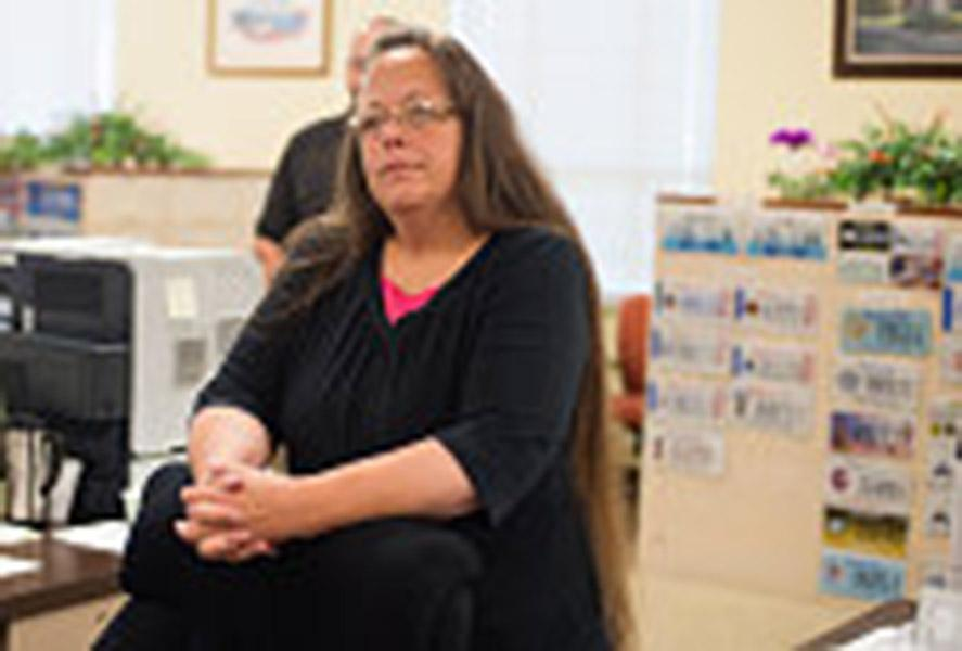 Kim Davis defies Supreme Court law by refusing to issue marriage licenses.(Photo by Ty Wright/Getty Images)