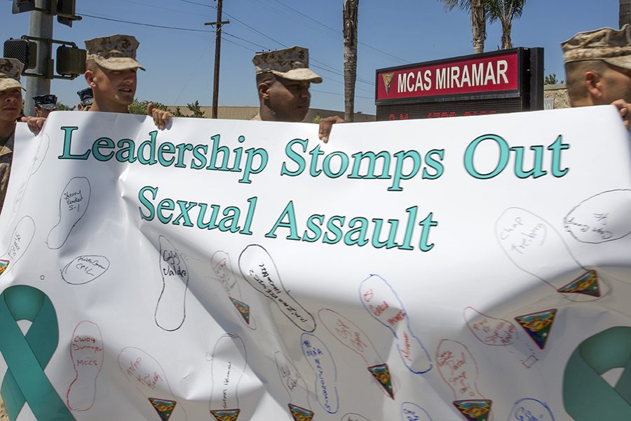 Marines, Sailors, families and civilian working aboard Marine Corps Air Station Miramar, Calif., walk along the streets to raise awareness about sexual assault during the fifth annual Sexual Assault Awareness Month Walk aboard the air station, April 29. Participants of different ranks, jobs and creeds gathered to show support in stopping sexual assault. (Photo by Creative Commons)