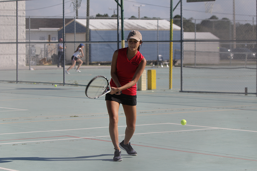 At the Alonso Match, Doan-Vy Vu just barely misses a hit. Vu was incredibly involved with the school both on and off campus. Ive played tennis all four years. she said. Being such an active member on the team, Ive formed incredible friendships and have really gained a sense of pride as a terrier.