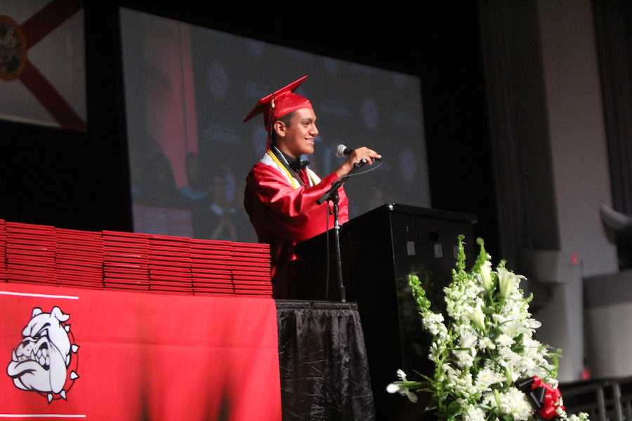 In his speech, traditional Salutatorian Brandon Montes reminds his peers that life is about the choices one makes.