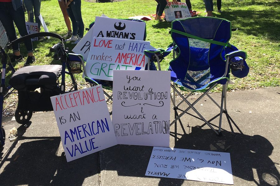 A collection of signs created by volunteers for the