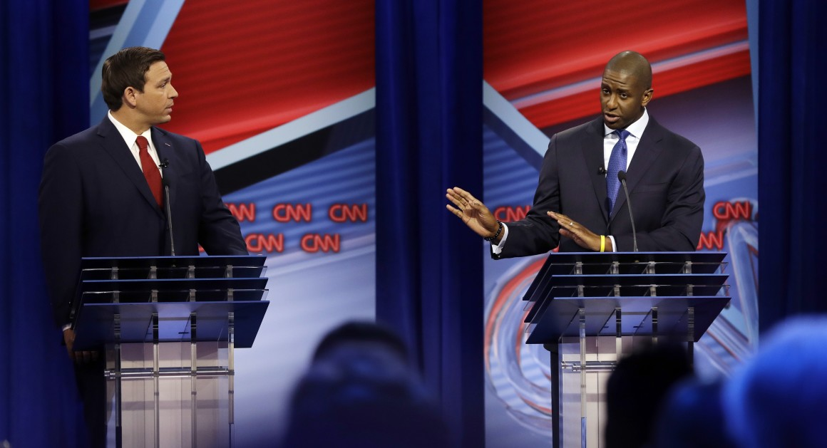 Ron DeSantis and Andrew Gillum at final debate before polls close on Nov. 6.