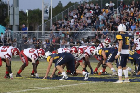 Hillsborough and Steinbrenner players get in position to start off a play.