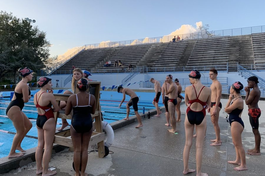 Swimmers+warm+up+before+the+meet+begins.+%22I+felt+like+I+helped+the+team+get+a+lot+of+points+this+year+and+it+was+a+really+fun+season%2C%22+freshman++Siddharth+Yerrajnnu+said.