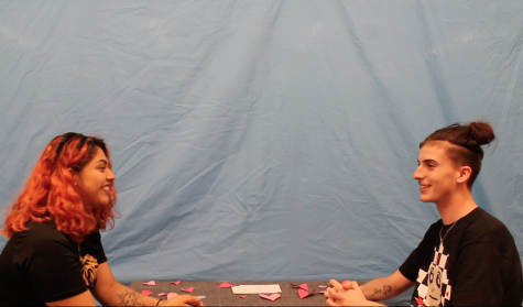 Senior couple Joanna Hernandez and Zackery Johnson answer questions about each other in a Valentine's Day game.