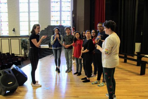 "Alumna Tani Pittard (2015) teaches students choreography for the musical. This spring, she will graduate from USF with a degree of theater performance. ""This is the first time I'm choreographing teenagers and it's been a lot of fun playing choreographer."""