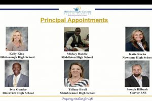 Using a slide show, Superintendent Addison Davis announced Kelly King (top left) as principal of Hillsborough High School.
