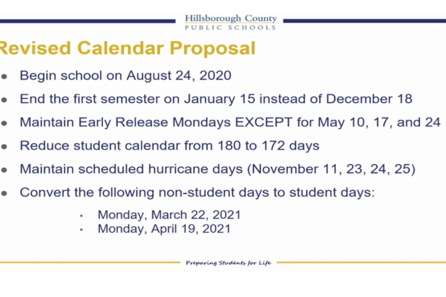 A slide about the calendar adjustment from Superintendent Davis