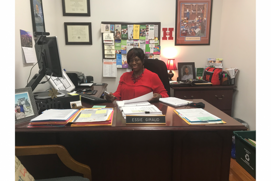 "School social worker Essie Giraud in her office. Giraud can be found during school hours Monday-Friday in room 113. ""One of the things we emphasize is that if a student is experiencing any type of mental health issue, there is support here on campus that they can go and find,"